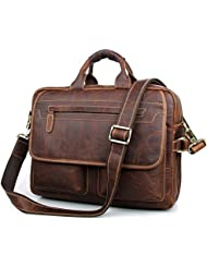 Texbo Mens Vintage Cowhide Leather Briefcase Fit 15.6 Laptop Bag