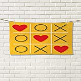 Love bathroom hand towels Tic-Tac-Toe Game with Xoxo Design Let Me Kiss You Valentines Romantic Illustrationpremium Yellow Red