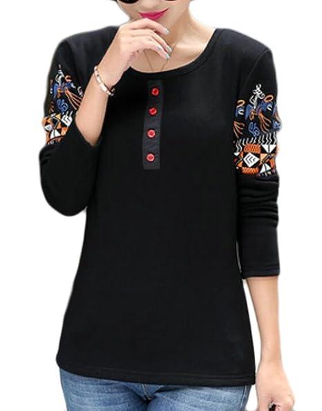 4228d0366c3 MU2M Womens Print Long Sleeve Round Neck Thick Plus Size Top Fleece T-Shirts  Black