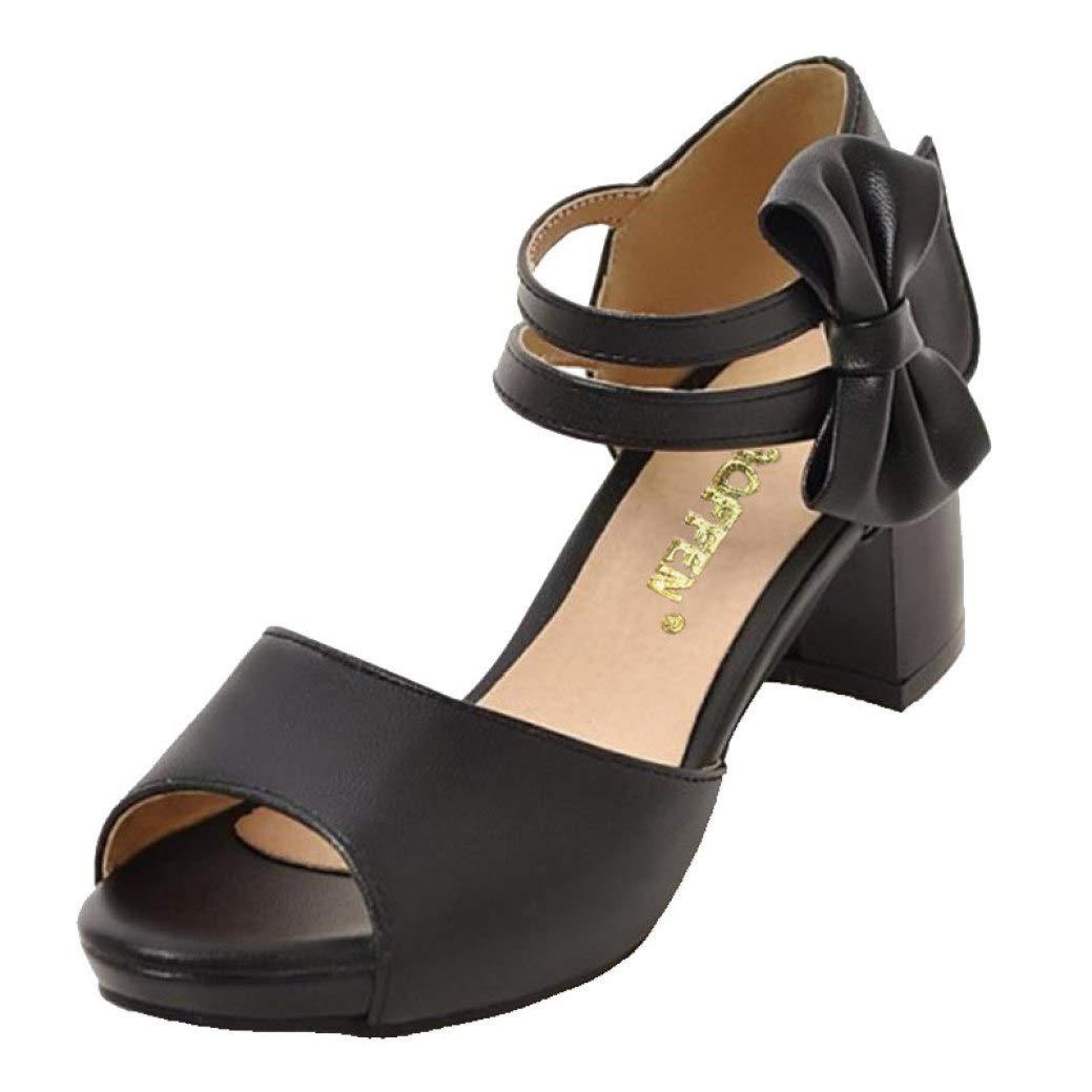 Black MEIZOKEN Women's Chunky Heel Platform Sandal Peep Toe Mid Heels Bowknot Ankle Strap Pump Sandals