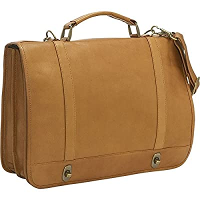 high-quality Le Donne Leather Flap Over Twist Lock Briefcase