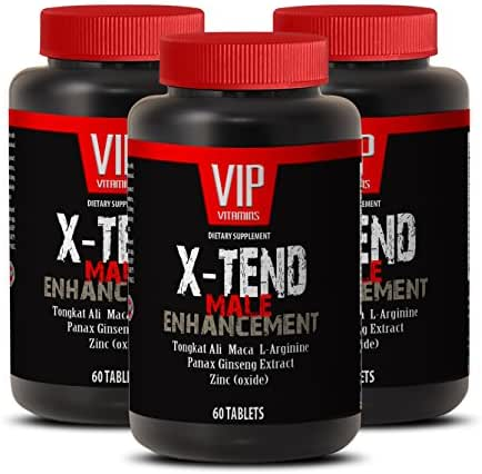 Natural Male Enhancement Pills X-tend - Testosterone Booster - 2175 Mg Potent and High Quality Testosterone Support Tablets (3 Bottles 180 Tablets)