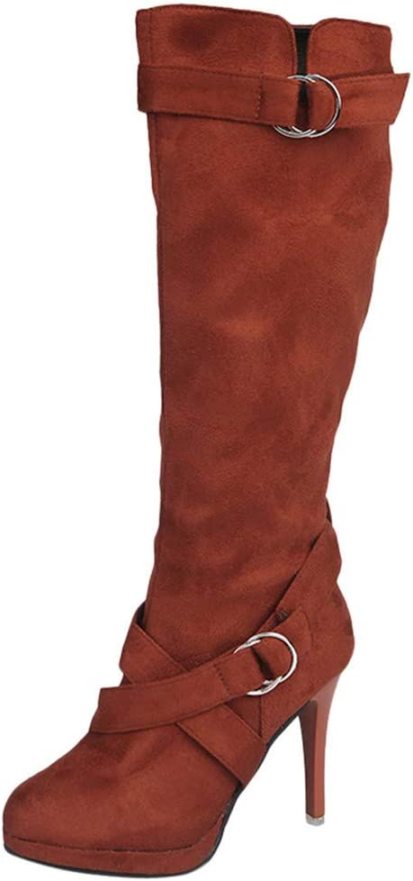 Be You Womens UK 7 Rust Brown Faux Leather Zip Up Knee High Tall Boots Low Heel
