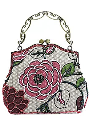 ILISHOP Women's Vintage Luxury Printing Beaded Women Handbag Evening Bag