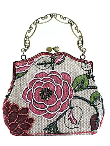 (ILISHOP Women's Vintage Luxury Printing Beaded Women Handbag Evening Bag (Pink))