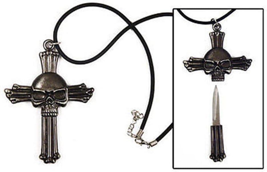 987700030X Swordmaster - Steel Cross Skull Knife Necklace Discreet Hide Away Small Blade Dagger Pick 51JCP2GiMnL