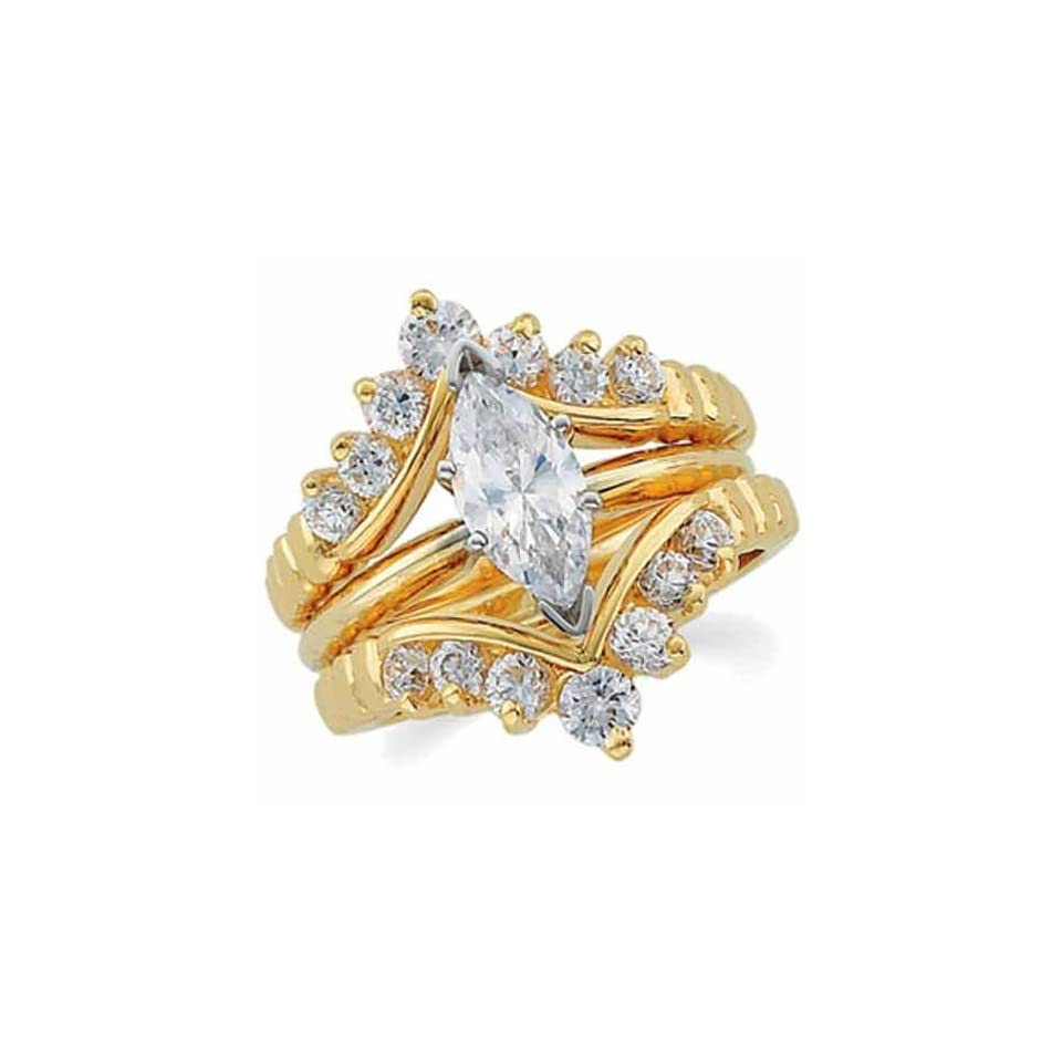 14K Yellow Gold Stylish Diamond Ring Guard Enhancer (Center ring is not included)