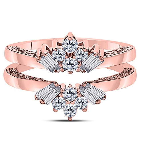 Jewelryhub 14k Rose Gold Plated Sterling Silver Dazzling Sunburst Prong Set Round & Baguette Enhancer Ring Guard with Cubic Zirconia (0.38 ct. tw.)