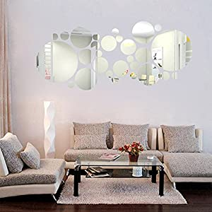 Round Acrylic Mirror Background Wall Sticker Bedroom Decoration for Kids Baby Girls Boys Children Office Bedroom…