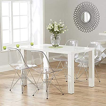 Juego de 4 sillas fantasma de policarbonato + acero para comedor, sala de estar, oficina, restaurante y jardín, 40 x 46 x 81 cm: Amazon.es: Hogar