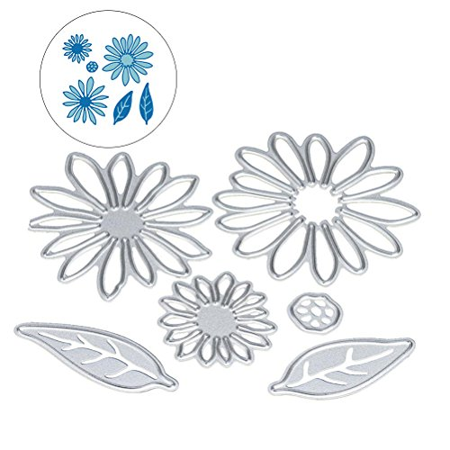 Flower Die Cuts, Buytra Metal Cutting Dies Stamps Embossing Stencil for Card Making Scrapbooking Album Paper DIY Crafts (6 Pieces)