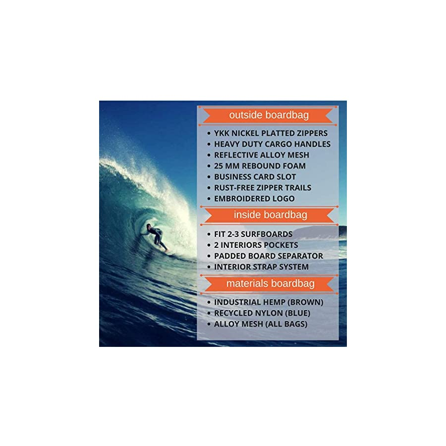 Eco Surfboard Travel Bag, More Padding, 26M Nose & Tail. Your Boards Arrive Safe. Fits 2 3 Surfboards. International Surfers Choice Award, 2 Pockets, Designed by California Surfers,Better Bags ESPN