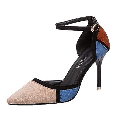 5acaf533ca628f GRATUIT Sandales Femme Femmes Escarpins Bride Cheville Bout Pointu Couleurs  Mélangées Chaussures à Talons Hauts Sexy Bout Pointu Bride Cheville  Chaussures ...