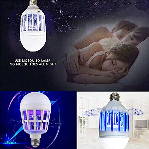 Leoie 2 in 1 Bug Zapper Light LED Bulb, E27 15W 110V Mosquit