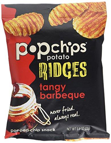 Popchips Single Serve Potato Ridges, Tangy BBQ, 0.8 Ounce, 24 Count (Popchips Bbq Potato Chip)