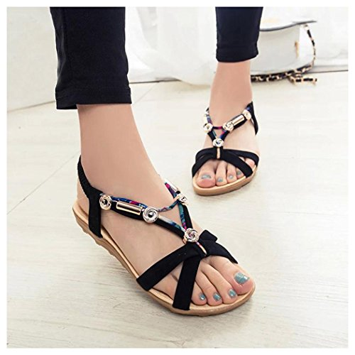 Summer Sandals, Inkach Womens Summer Sandals Roman Sandals Ladies Flip FlopsPeep-toe Low Shoes Black