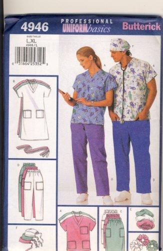 Hats Pattern Scrub - Butterick Sewing Pattern 4946 - Use to Make - Unisex Uniforms - Scrubs - Sizes L, XL