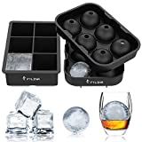 FYLINA Ice Cube Trays (Set of 2) - Black Silicone 6 Giant Ice Ball Cube Maker Use for Kids with Candy Pudding Jelly Milk Juice Chocolate Mold or Cocktails Whiskey Particles