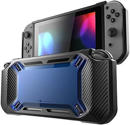 Mumba Funda para Nintendo Switch [Reforzada] Carcasa Dura Delgada y Cubierta en Goma [Enganchable] para Nintendo Switch Version 2017 (Azul/Negro)