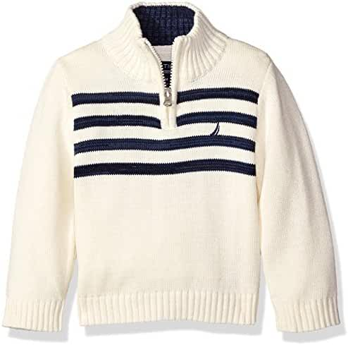 Nautica Baby Boys' Quarter Zip Neck 'Good Harbor' Striped Sweater