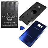 Samsung Galaxy Note 5 Replacement Rear Back Glass Back Cover w/ Removal Tool & Pre-Installed Adhesive - Fits N920 Models ANY CARRIER - 2 Logo (Sapphire Black)