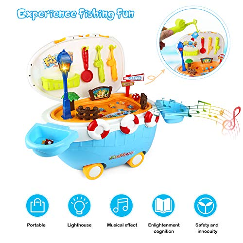 ZJTL Toddler Fishing Boat Toy, Funny Fishing Game, with Wheeled,Movable and Portable, can Exercise Children's Imagination and Thinking Ability, Promote Friendship, Create Beautiful Time