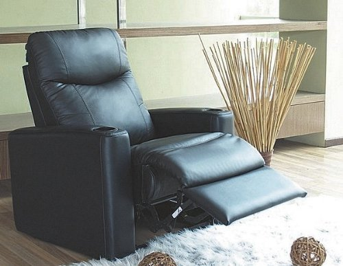 Theater Collection Black Seating (Showtime Collection Black Leather Motion Home Theater Chair Recliner)