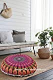 Textile & Craft House Large Round Floor Pillows & Cushion Cover Ottoman Pouf Cover Indian Bohemian Throw Decorative Zipped Pouf Cover in 32'' (Style - 2)