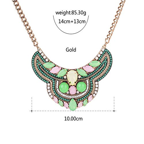 HeyGirl New Arrive Women Retro Green Resin Exaggeration Green Resin Pendant Necklace(Green,One Size) from HeyGirl