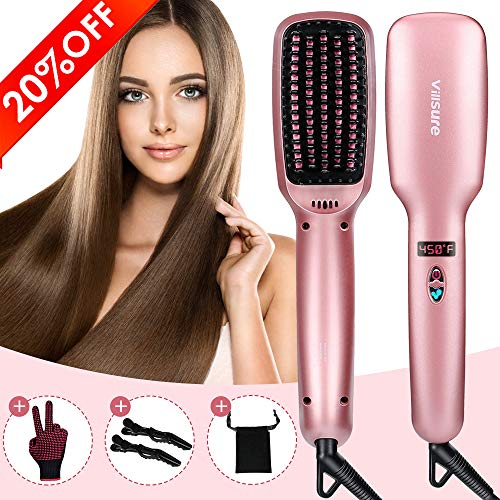 Ionic Hair Straightener Brush, Villsure 30s Fast Heating Ceramic Straightening Brush with 5 Adjustable Temperature, Electric Straightening Comb w/Anti-scald|Auto Temperature Lock|Auto-off Feature