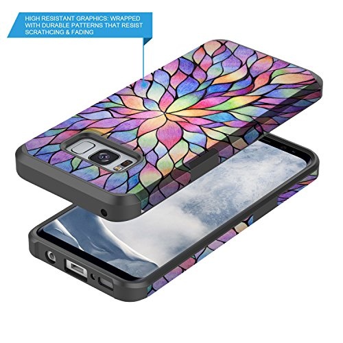 Galaxy S8 Case, GORGCASE [Drop Protection] Dual Layer Graphic Designed Shockproof Hard Hybird Slim Defender Armor Protector Cover for Samsung Galaxy S8 (COLORFUL PETALS) by GORGCASE (Image #3)