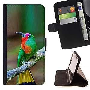 - tropical bird songbird brown yellow - - Prima caja de la PU billetera de cuero con ranuras para tarjetas, efectivo desmontable correa para l Funny HouseFOR Sony Xperia M2