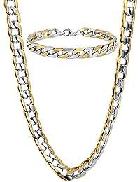 Chain Necklace Bracelet Mens Jewelry Set Cuban Cable Link...