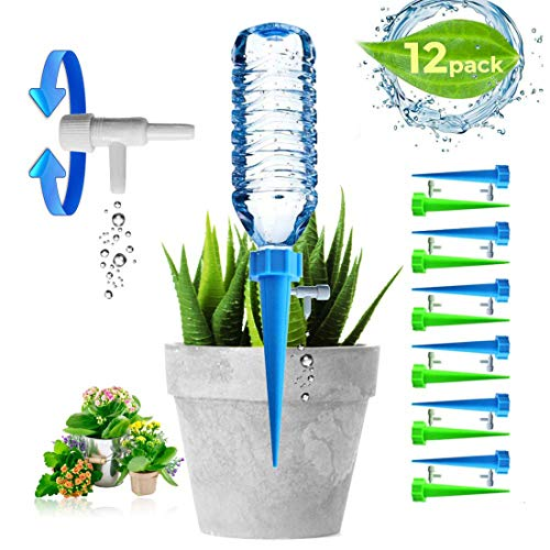 - Adjustable Self Plant Watering Spikes, Plants Drip Irrigation Slow Release System/Automatic Vacation Drip Irrigation Watering Devices/Works as Watering Bulbs or Globes Stakes with Screw Valve-12 Pack