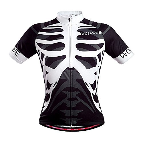 WOSAWE Mens Breathable Cycling Jersey (Skeleton, XXL)