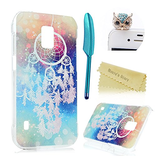 (Not for S5)S5 Active Case,Galaxy S5 Active Case - Mavis's Diary Colorful Tribal Campanula Pattern Clear Cover Hard