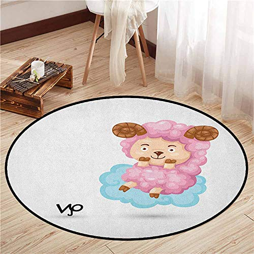 Indoor/Outdoor Round Rugs,Zodiac Aries,Cartoon Style Funny Sheep Sitting on a Blue Cloud Birth and Future Kids Design,Children Crawling Bedroom Rug,4'3