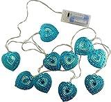 Christmas Concepts® 10 Warm White LED Metal Filigree Turquoise Heart Shaped Fairy Lights - Christmas Lights - Everyday Lights - Bedroom Lights