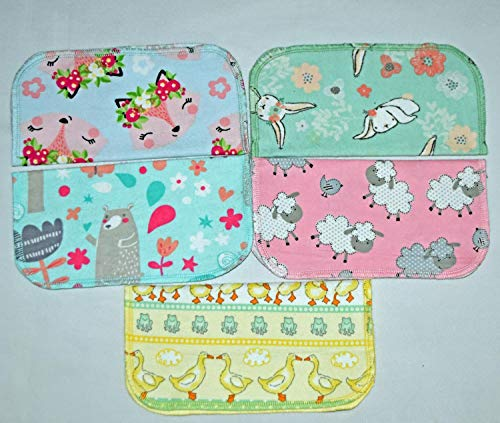 1 Ply Springtime Cuddles Flannel Washable Kids Lunchbox Napkins 8x8 inches 5 Pack - Little Wipes (R) Flannel