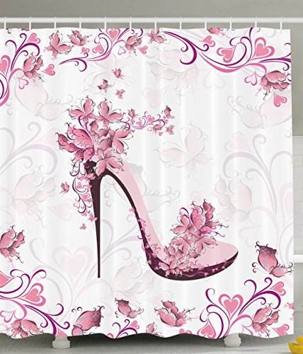 ambesonne pink and purple women shoes with roses and hearts and flying butterflies polyester fabric bathroom shower curtain set with hooks