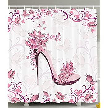 Amazon.com: Ambesonne Pink and Purple Women Shoes with Roses and ...