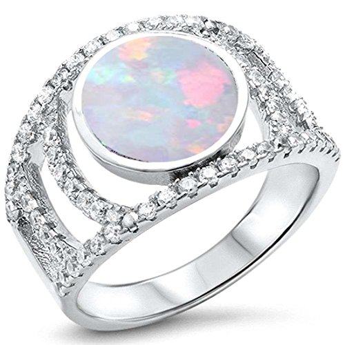 Fashion Ring Open Shank Round Created White Opal Cubic Zirconia Accent 925 Sterling Silver, Size-10 (Shank Open Rounds Ring)