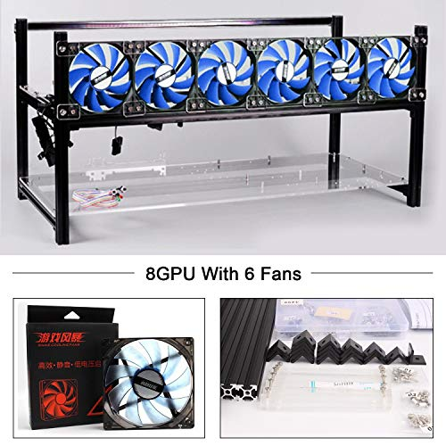 Aluminum 8 GPU Mining Rig Case with 6 PCS 120mm Case Fan, Stackable Open Air Frame Miner Case for ETH/ETC/ZCash/Cryptocurrency(BlueFan,Black) (Best Gpu For Litecoin Mining)