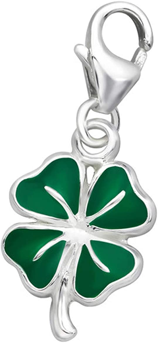 Four Leaf Heart Clover Charm in Antiqued Sterling Silver