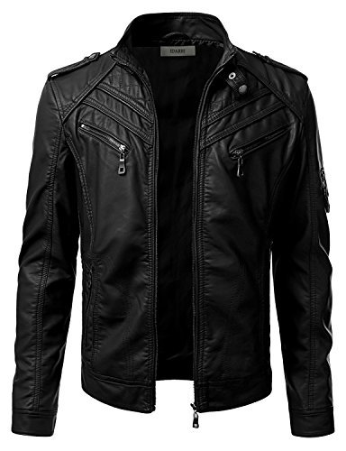 IDARBI Mens Long Sleeve Premium Stand Collar Zip Up Faux Leather Jacket Black L