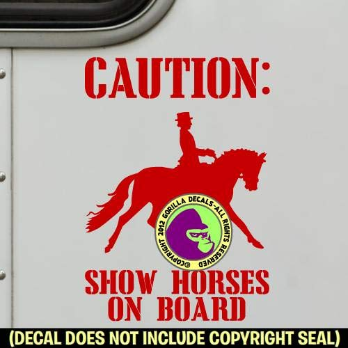 DRESSAGE SHOW HORSES ON BOARD Trailer Vinyl Decal Sticker B