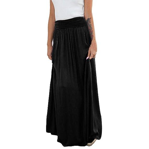 Falda Larga Mujer - Color sólido Elástica Plisada Básica Falda ...