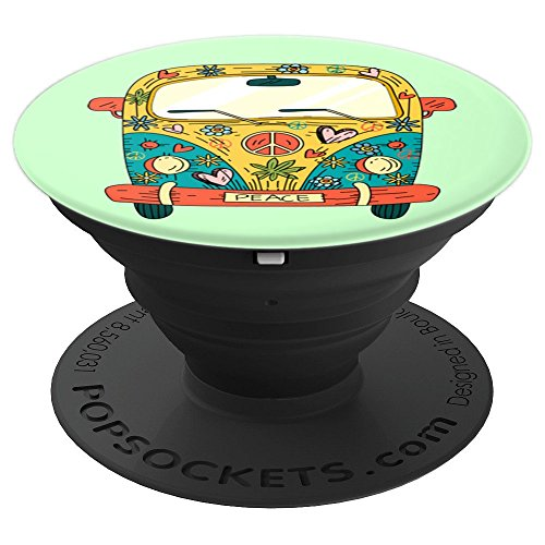 HIPPIE HEART Love Van 60s Retro Hippy 1960s Peace Vintage - PopSockets Grip and Stand for Phones and Tablets (Hippy Van)