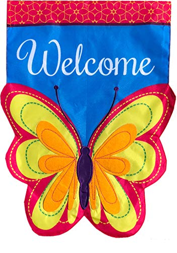 Briarwood Lane Butterfly Applique Spring House Flag Welcome 28