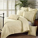 "CXYY 3PC Quilt Sets Full Cotton Floral Jacquard 90""W*98""L , yellow"